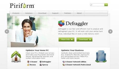 Официальный сайт Piriform