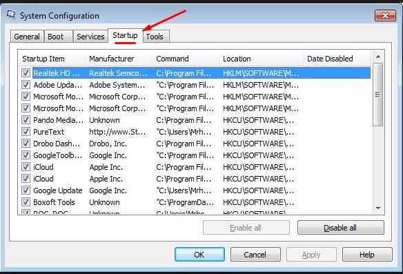 Убираем процессы из автозагрузки Windows