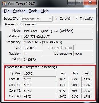Интерфейс бесплатной утилиты по контролю температурного режима