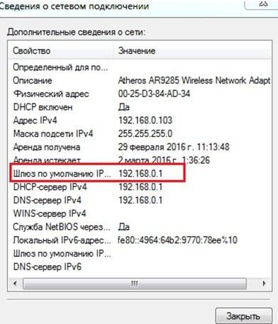 IP адрес точки доступа