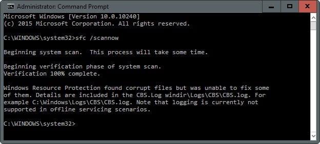 Выполняем проверку целостности системных файлов