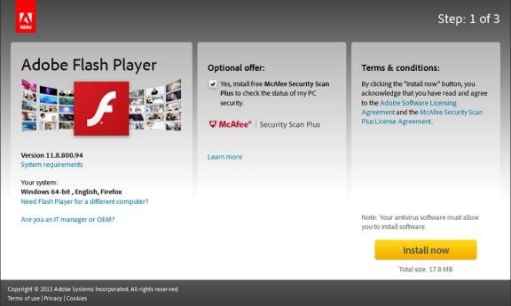 Устанавливаем Adobe Flash Player