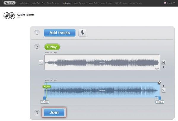 Загружаем трек в сервис Audio-Joiner