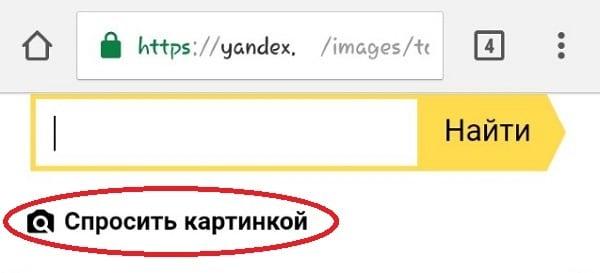 Спросить картинкой в Яндекс