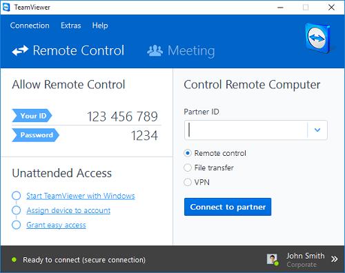 Для подключения к чужому компьютеру необходим ID и пароль