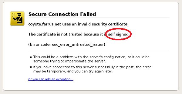 Сертификат self signed