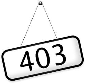Табличка с надписью 403