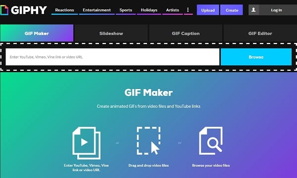 Скриншот сервиса GIPHY