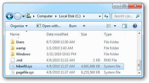 Файл hiberfil.sys в Виндовс