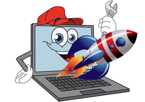 Рисунок компьютера с ракетой
