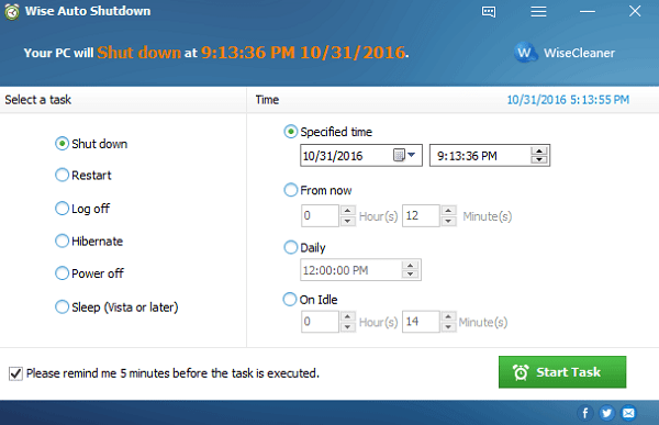 Скриншот Wise Auto Shutdown