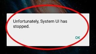 Сообщение об остановке System UI