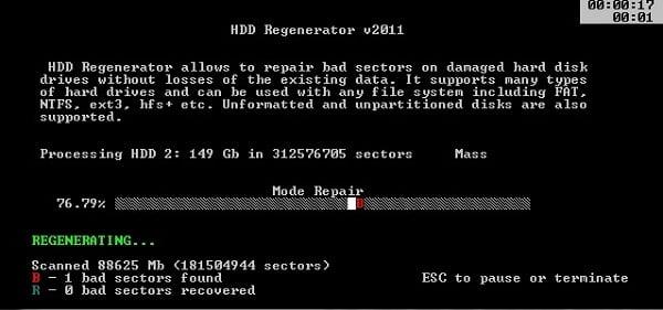 Скриншот запущенной HDD Regenerator