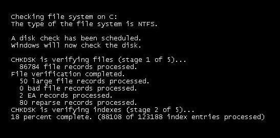 Запускаем CHKDSK через консоль