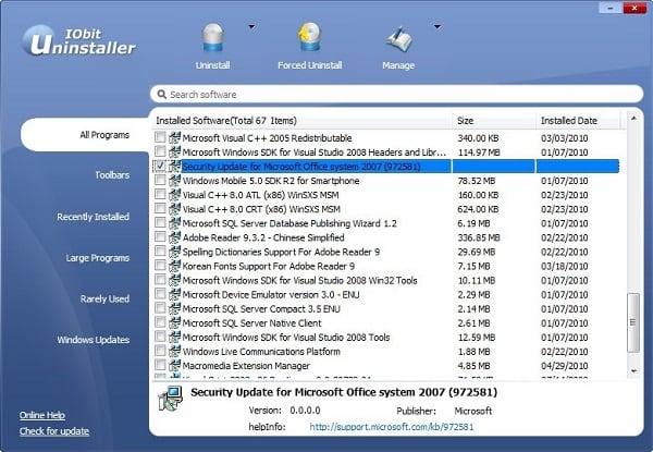 Скриншот Iobit Uninstaller Free