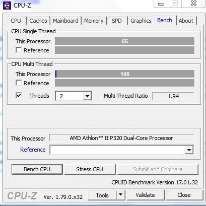 Рабочее окно программы CPU-Z
