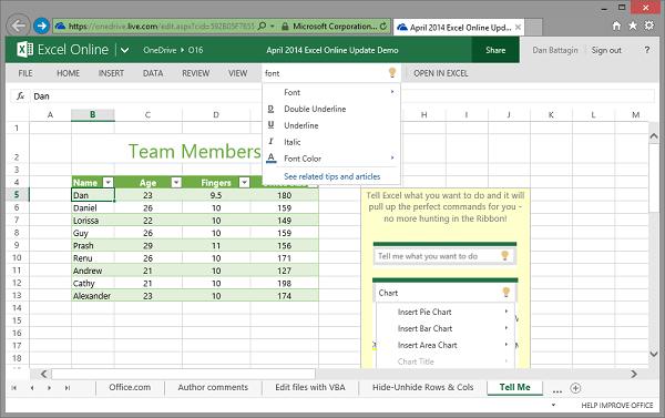 Создаём таблицу в Excel Online