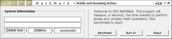 """Рабочее окно программы """"CPU MathMARK"""""""