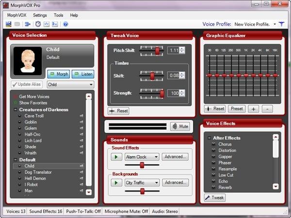 Рабочий экран MorphVOX Pro