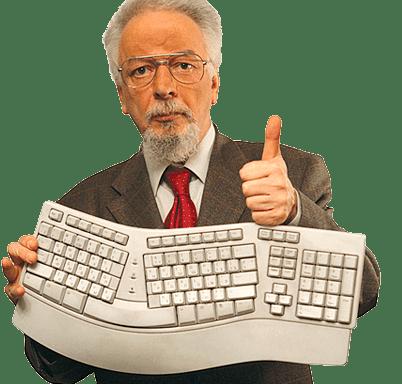 Мужчина с клавиатурой
