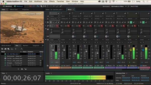 Настройки миксера в Adobe Audition