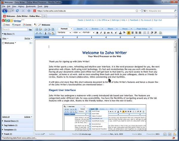 Текстовый редактор «ZOHO Writer»