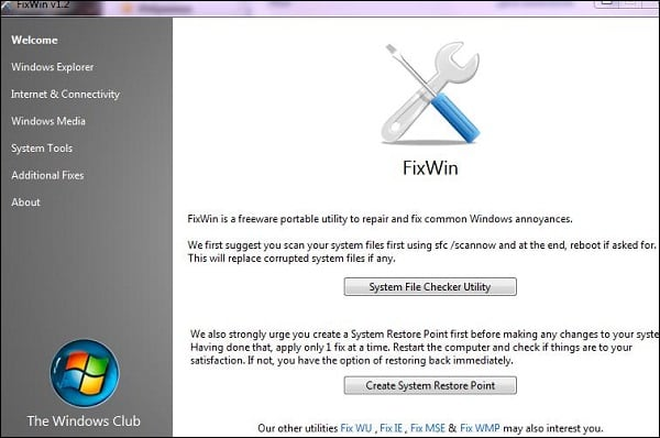 "Рабочий экран ""FixWin"""