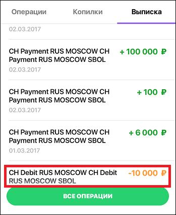 Операция CH Debit RUS