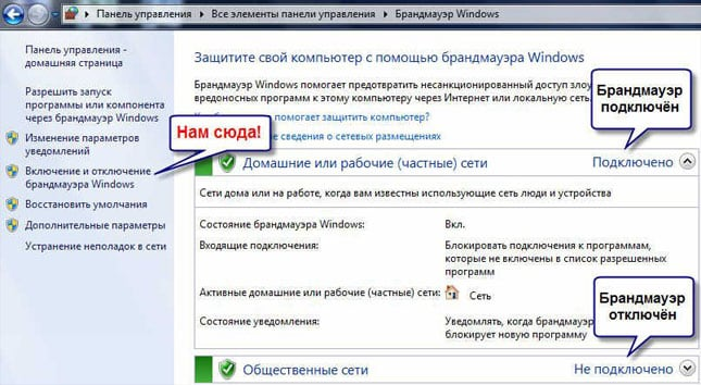 Включение и отключение брандмауэра в Windows 7