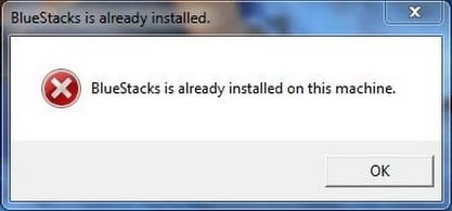 BlueStacks is already installed on this machine