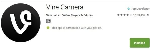 """Скачайте приложение """"Vine Camera"""" с Play Market и iTunes"""