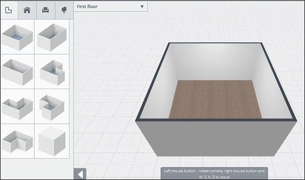 """Панель инструментов и рабочая площадь сервиса """"Planner 5D"""""""