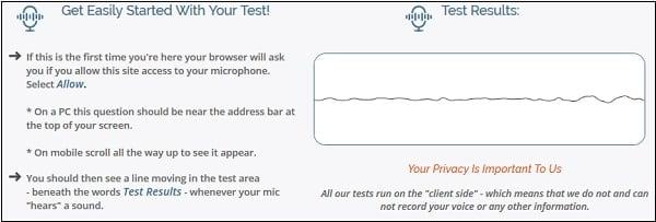 Рабочее окно сервиса onlinemictest.com