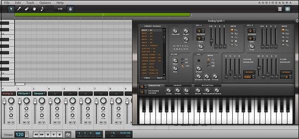 Рабочий экран сервиса audiosauna.com