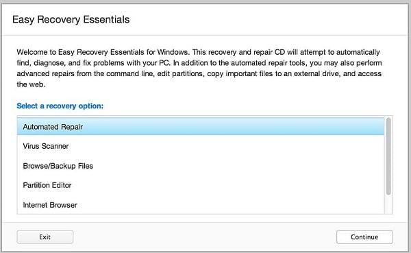 """Используйте функционал программы """"Easy Recovery Essentials"""" для восстановления загрузки системы"""