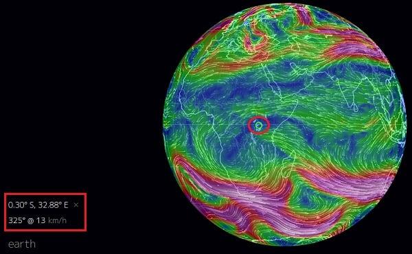 Кликните на нужную точку на карте - и вы получите соответствующие данные о скорости ветра