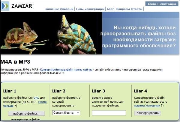 Скриншот шагов zamzar.com