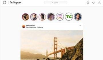 Окно сервиса Instagram