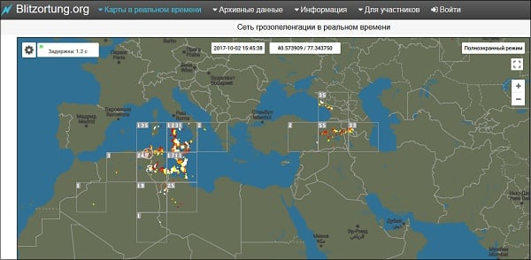 Сервис blitzortung.org позволяет наблюдать онлайн за наличием гроз в том или ином регионе мира