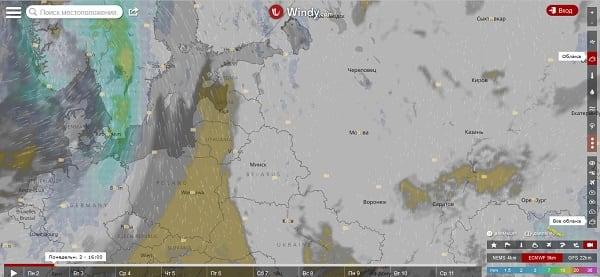 В создании прогноза погоды на ближайшее время сервис windy.com использует несколько общепризнанных моделей расчёта