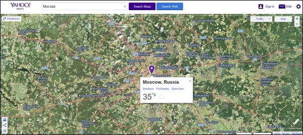 Карта Yahoo Maps