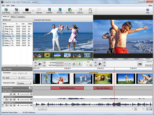 Окно программы VideoPad