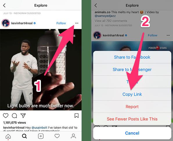 Расположение опции Copy Link