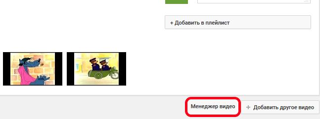 Кнопка менеджера видео