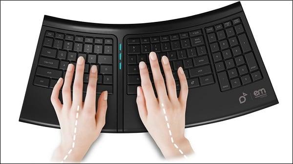 Иллюстрация эргономичной клавиатуры