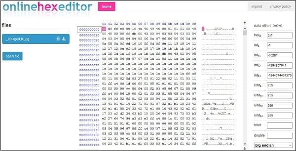 Популярный редактор Onlinehexeditor.com