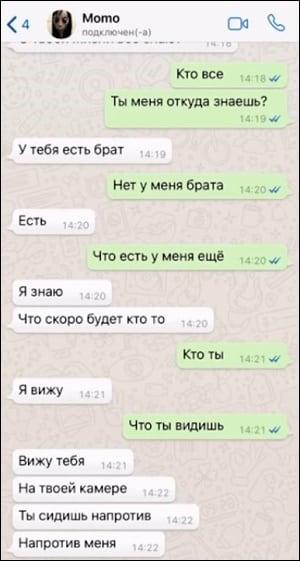 Скриншот диалога с Момо