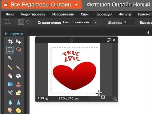 Скриншот работы с изображением