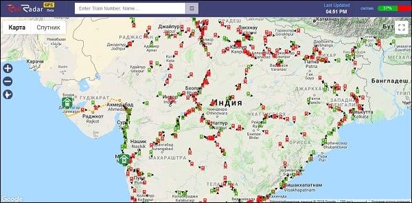Скриншот паровозных маршрутов в Индии