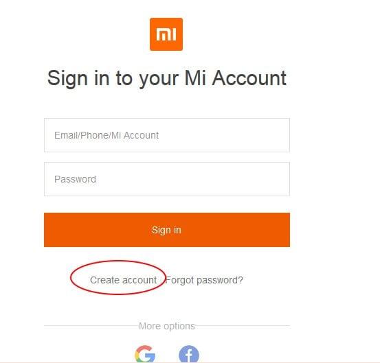 Создание аккаунта на Mi Cloud